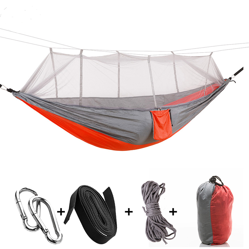 Portable Outdoor Camping Hammock With Mosquito Net Parachute Fabric Ultralight Hammocks Double Beds Hanging Swing Sleeping Bed
