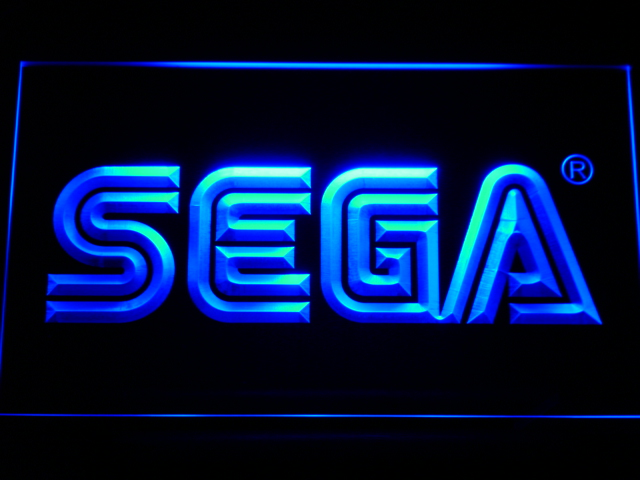 e054 Sega LED Neon Sign with On/Off Switch 20+ Colors 5 Sizes to choose