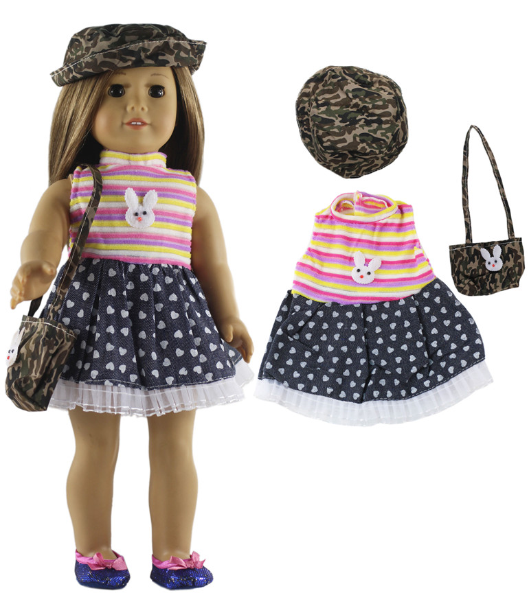 Image 4 - 5 Set Fashion Style Clothing Doll Clothes+4 hats+4 bags+one pairs tights for 18 inch doll clothes american doll accessoriesDolls Accessories   -