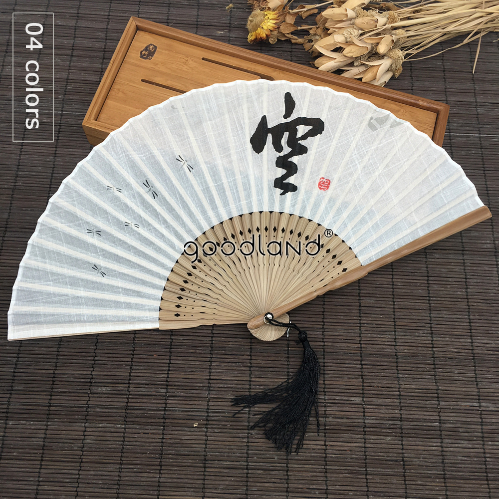 Free Shipping 1pcs Top Quality Chinese Dhyana Style White Black Gray Linen Fabric Bamboo Folding Hand Fan Summer Art