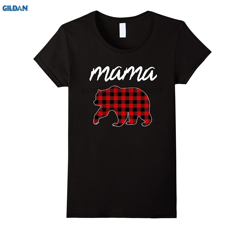 GILDAN Mama Bear Plaid T-Shirt Matching Family Womens 2017 Mom Tee