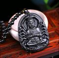 Unique Chinese Handicraft Natural Black Obsidian Carved Lucky Blessing GuanYin Amulet Pendant Necklace Jade Jewelry Dropshipping