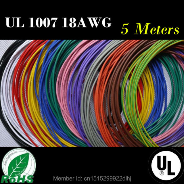 18 awg 5m 164 ft flexible stranded 10 colors ul 1007 diameter 2mm 18 awg 5m 164 ft flexible stranded 10 colors ul 1007 diameter 2mm electronic wire greentooth