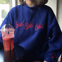 Fashion Women Sweatshirts Autumn Winter 2016 Korean Style New Pullover Cute Pink Blue Embroidery Letter Heart