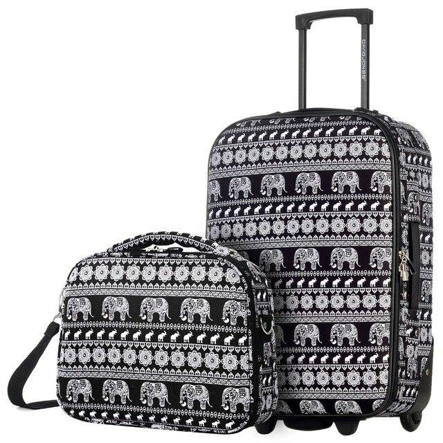 """DAVIDJONES 2 шт. 20 """"Ручной Чемодан & Косметический случай 13'' троллейбус случае женщины Cosmetic bag Путешествия багажа Интернат коробка девушки"""