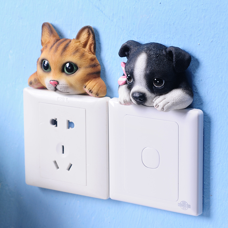 Hot 3d stickers Bathroom of wall sticker Living room Bedroom DIY Funny Cute Cat Dog Switch Stickers Wall Stickers Home Decor