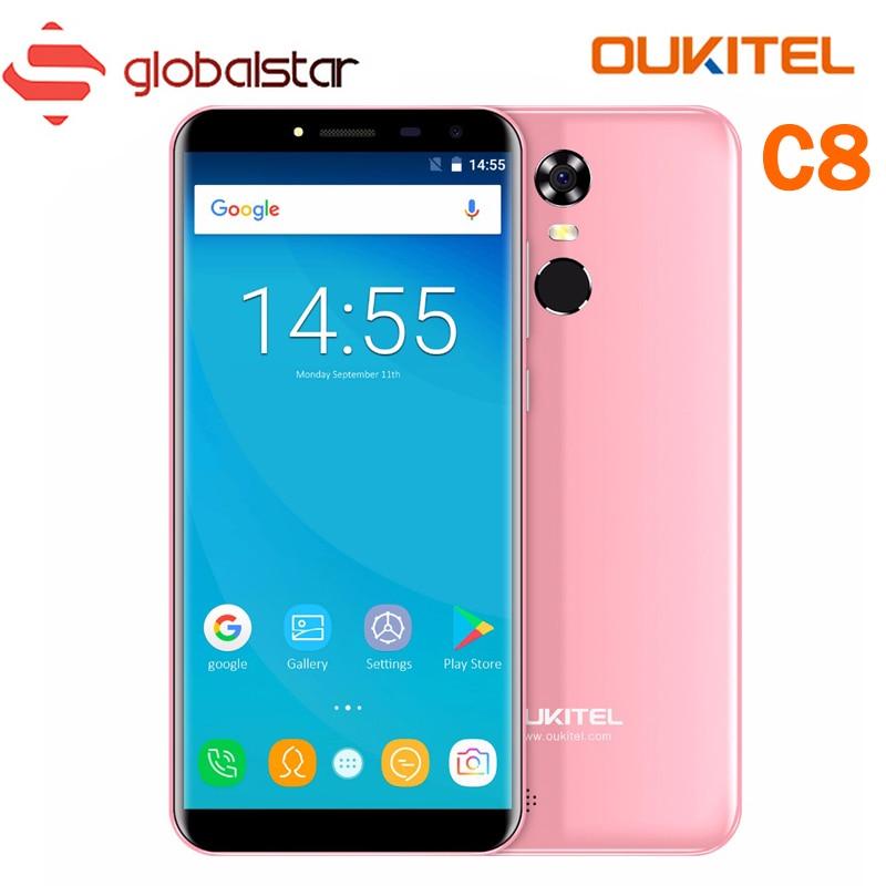 Oukitel C8 5.5 18:9 Écran téléphone portable MTK6580A Quad Core Smartphone 2 GB RAM 16 GB ROM 3000 mAh Android 7.0 3G D'empreintes Digitales Téléphone