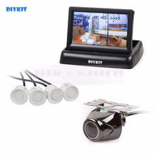 DIYKIT four.3Inch Foldable Rear View Automobile Monitor + four Parking Radar + Rear View Automobile Digicam Video Parking Radar Parking Sensor