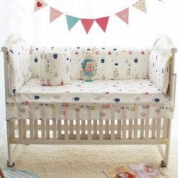 Nueva impresión 100% de bebé de algodón protectores de cama estrellas nube de dibujos animados de niños y niñas bebé cama cuna parachoques 6 uds
