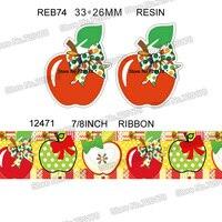 printed cartoon apple grosgrain ribbon and resin sets 7/8inch 50yard ribbon and 50pcs resin 1 set REB74