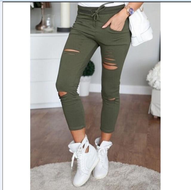 2017 fashion Women sexy pants ,female slim thin hip leggings ladies Holes army green pants nine point pants free shipping MH166