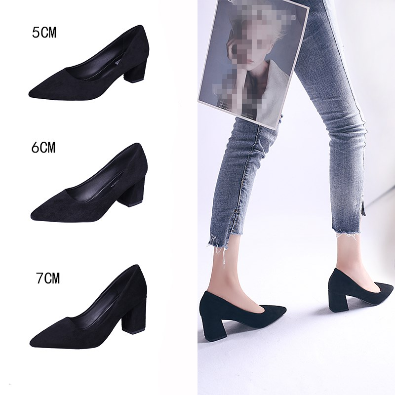 EOEODOIT Fashion Office Lady Pumps Med High Square Heel Pointed Toe Slip On Women Shoes Shallow Mouth OL Casual 5 Cm 6 Cm 7 Cm