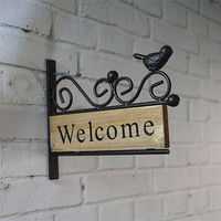 Welcome sign wooden door plates vintage decoration creative tin signs metal painting home decor house shelf