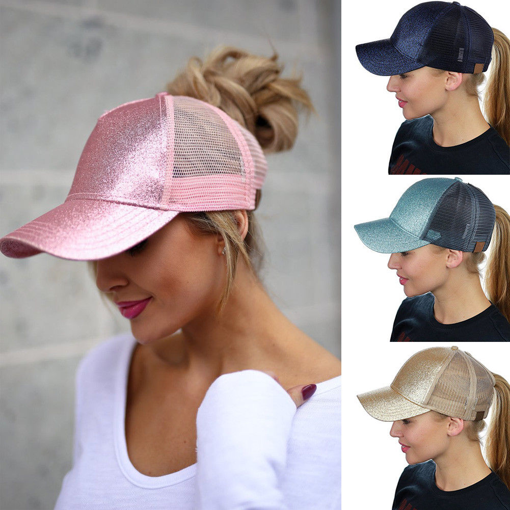 Detail Feedback Questions about 2018 Women Ladies Girls Visors Ponytail  Baseball Cap Sequins Shiny Messy Bun Snapback Hat Sun Caps Visors Gold Pink  on ... d226be18511