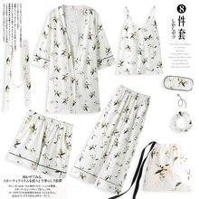 Yulan pajamas, spring, autumn, long sleeves, pure cotton, seven suits, kimono, robe, summer and winter sexy home clothes.