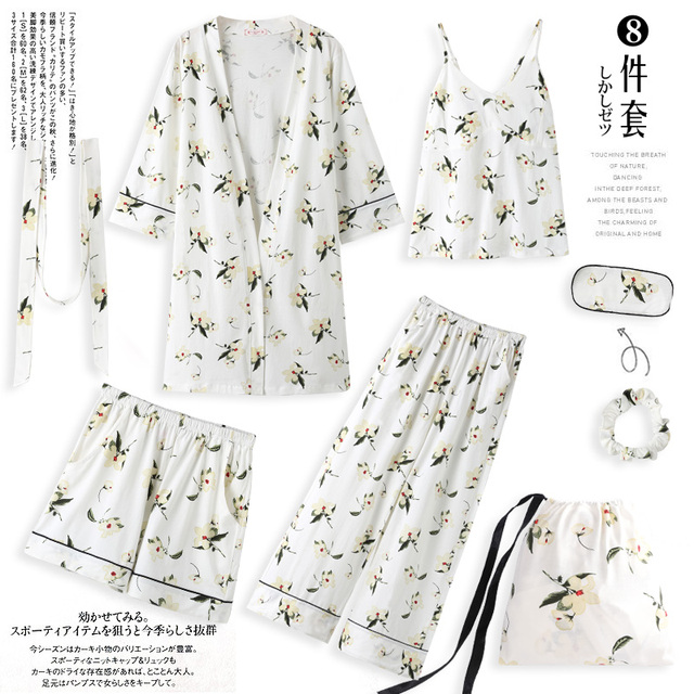 Yulan pajamas, spring, autumn, long sleeves, pure cotton, seven suits, kimono, robe, summer and winter sexy home clothes.