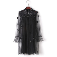 Women Runway Dresses Gorgeous Long Sleeves Mesh Flower Lace pearl Elegant Two Pieces Dress Party Girls Retro