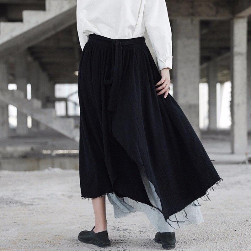 Gland Midi De Haute Chicever Jupe Black Automne Casual Mode Lâche Vintage Jupes Grande Femelle Asymétrique Patchwork Femmes Taille S6SgWfvnx