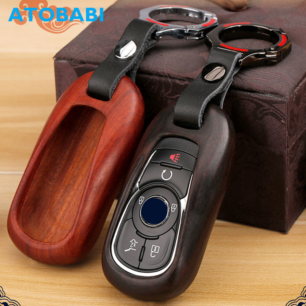 ATOBABI Wood Material Car Key Case Keychain for Buick ENCORE ENVISION NEW LACROSSE Smart Remote Fob Shell Cover Car Accessories