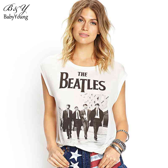 2016 Beatles Tops Tees Woman Harajuku The Beatles Classic Photos Letter Pattern Round Neck Sleeveless Cotton T-Shirt Women