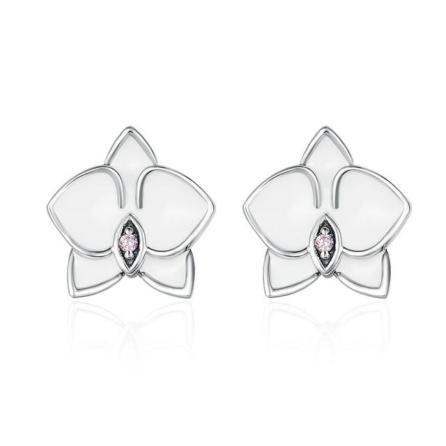 Fashion 925 Sterling Silver White Orchid Enamel Pink Cubic Zirconia Stud Earrings For Women