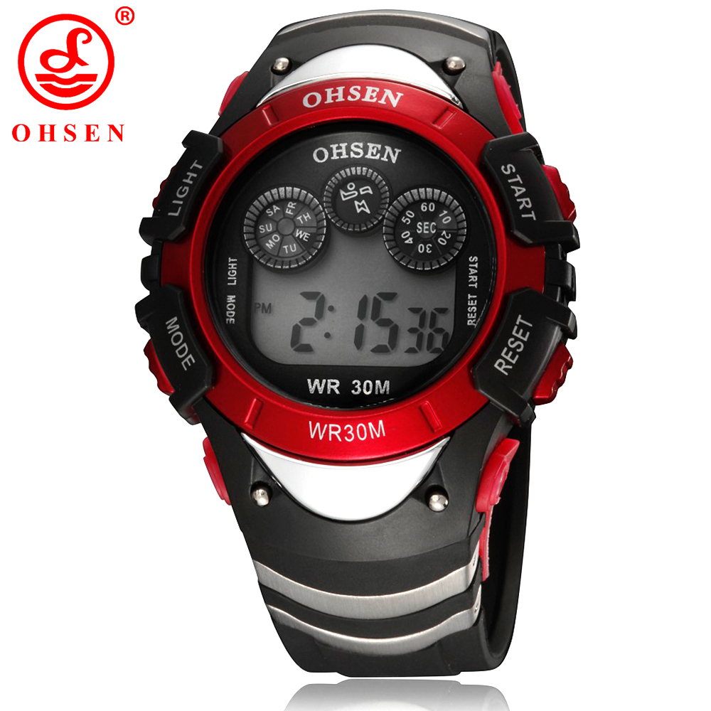 New OHSEN Electronic Wrist Watches Boys Sports Watch Men Alarm Day Date <font><b>LED</b></font> Back Light Waterproof Wristwatch Digital Red Watch