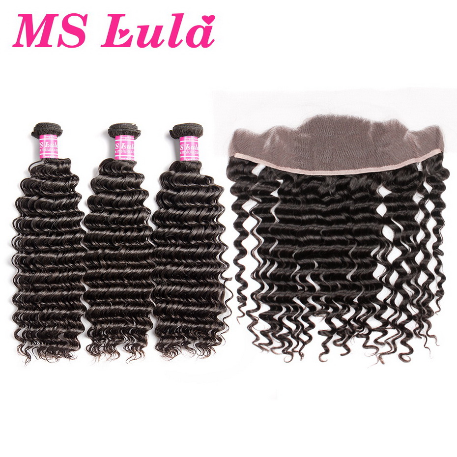 MS Lula Brazilian Hair Deep Wave 3 Bundles With Lace Frontal Closure 13x4 Human Hair Bundles Swiss Lace Frontal Remy Hair