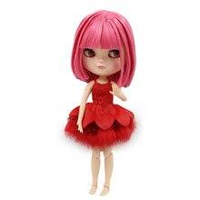 ICY DBS кукла BL2476 короткие розовые волосы азон тело маленькая грудь встряхнуть голову игрушка кукла натуральная кожа 30 см