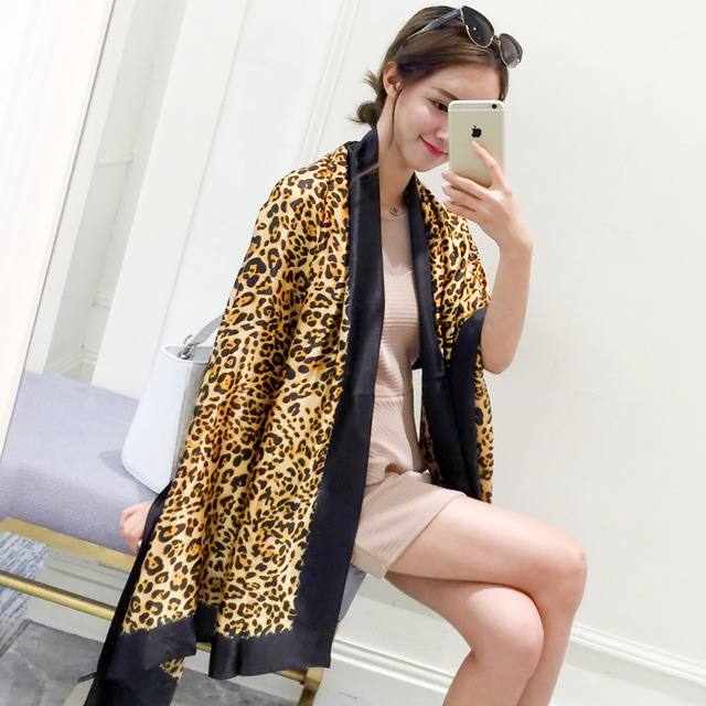 180*90cm, 2016 Women's Leopard Print Soft Large Silk Scarf Wraps shawls and scarves women skyour