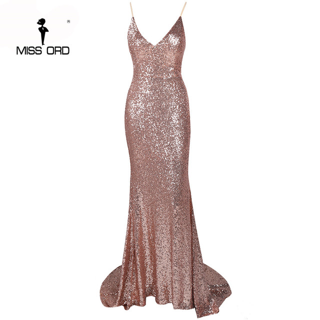 Missord 2019 Sexy halter Bow V-neck  party dress sequin maxi dress FT3995 3
