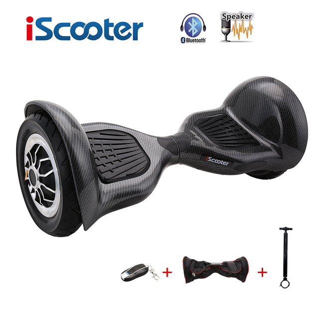Iscooter ХОВЕРБОРДА 10 дюймов Bluetooth 2 колеса балансируя Электрический скутер два Smart колеса gyroscooter 10 ''Скейтборд Доска