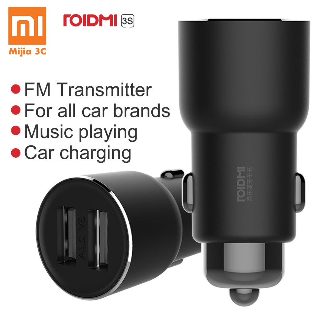 Xiaomi Car Charger ROIDMI 3S 5V/3.4A FM Wireless Bluetooth USB Charger Music Player with Smart APP for IPhone X 8 6S Android image