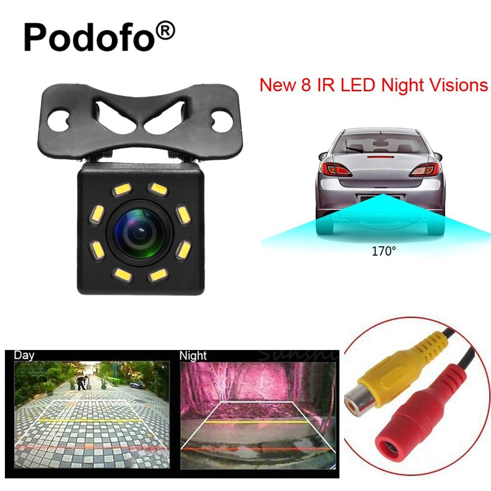 Podofo 8 LED Night Visions Rückfahrkamera Weitwinkel HD Farbe Bild Wasserdicht Universal Auto-unterstützungsrückfahrkamera
