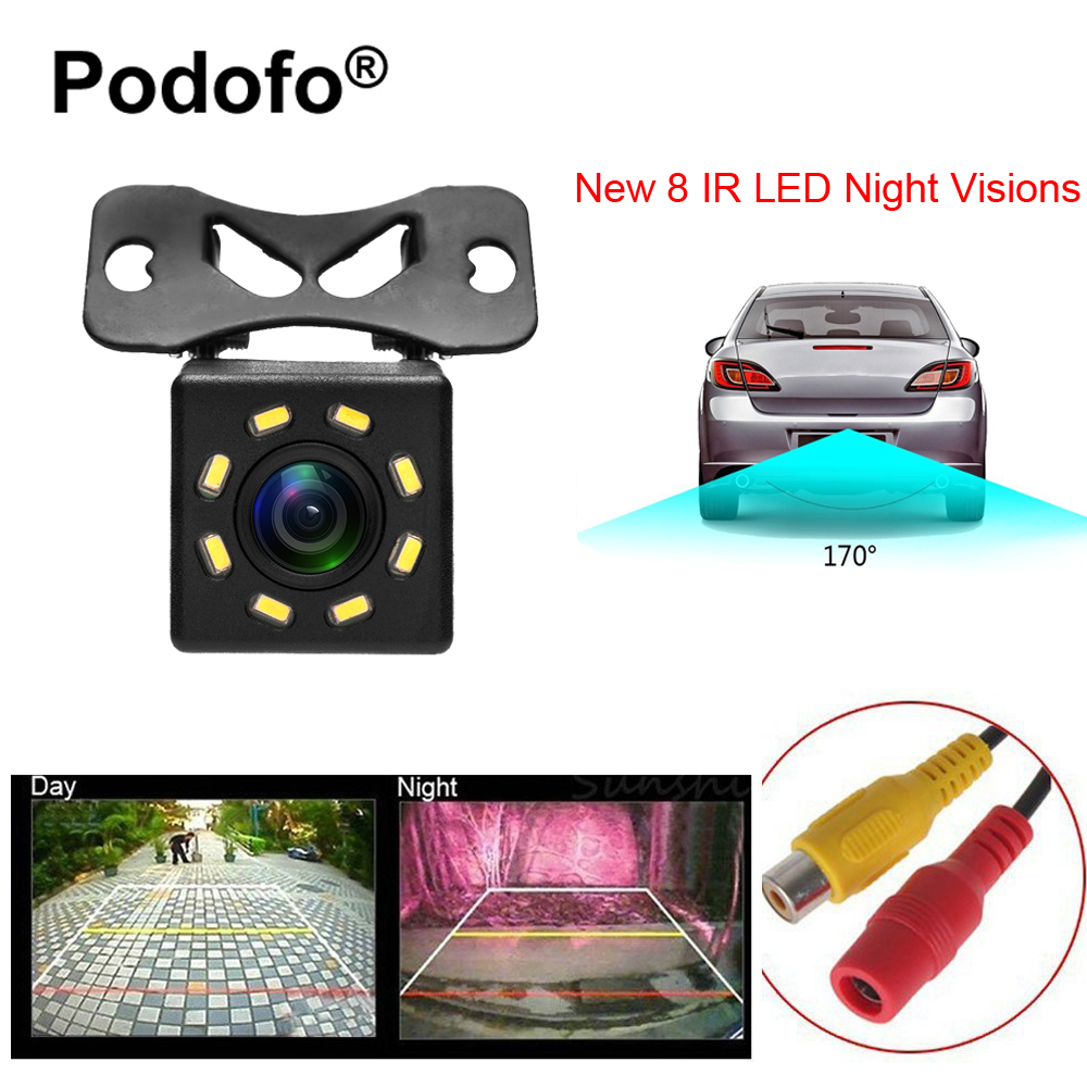 Podofo 8 LED Night Visions Car Rear View Camera Wide Angle HD Color Image Waterproof Universal Backup Reverse Parking Camera