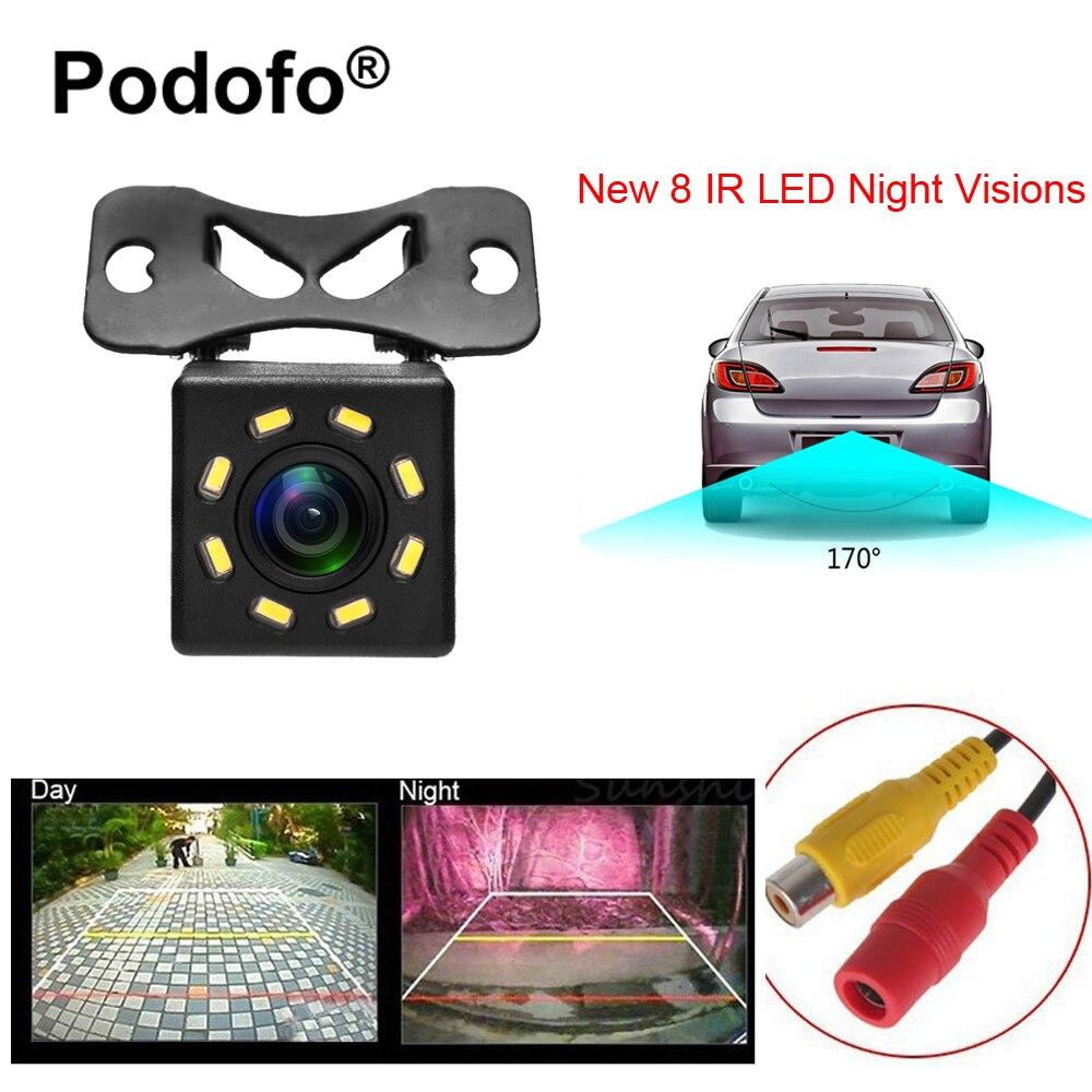 Podofo 8 LED Visión Nocturna opinión posterior del coche Cámara gran angular HD color imagen impermeable universal backup reversa cámara de aparcamiento
