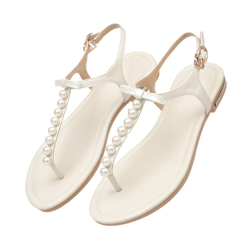 Asumer 2018 new high quality genuine leather women sandals ladies summer flip flops sweet solid color shoes woman black beige