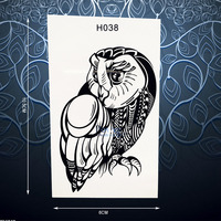 Hot Sale Black Owl Bird Temporary Tattoo Sticker Waterproof Body Art Decals For Men Women Arm Leg Fake Owl Tattoo Stickers PH038