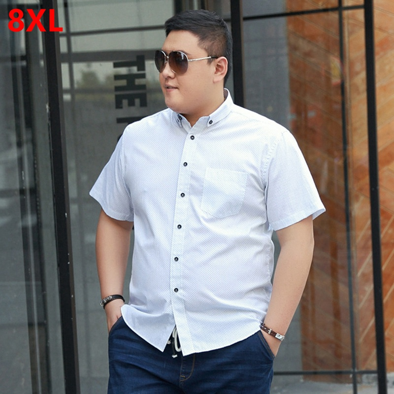 a8325b379d6c8 Mens Plus size clothing short-sleeve shirt male Big size casual shirt fat  summer short-sleeve ...