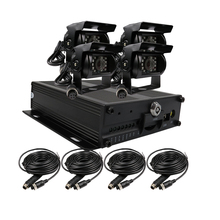 Free Shipping 4CH H.264 I/O 128GB SD Car Vehicle DVR MDVR D1 Video Recorder Realtime Recording + 4 x Duty Metal IR Car Camera