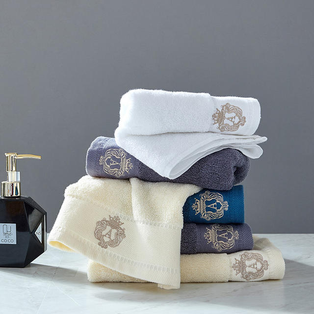 Solid Embroidered Cotton Towel