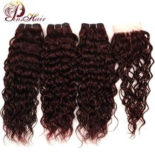 Brazilian Hair Weave 3 Bundles With Closure Burgundy Water Wave Red 99J Pinshair Thick Human Non Remy