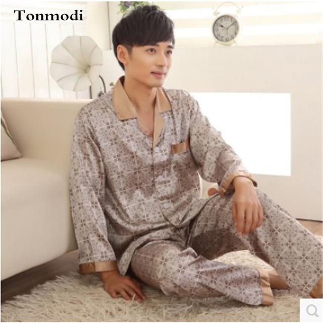 Los hombres de Satén de Seda Sexy ropa de Dormir Pijamas Pijamas manga Larga Para Hombre de lujo de Los Hombres Conjuntos salón Pijama Más El Tamaño 3XL Pijama Hombre