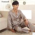 Men's Satin Pajamas Long sleeve Pyjamas Mens luxury Silk Sexy Sleepwear Men's lounge Pajama Sets Plus Size 3XL Pijama Hombre