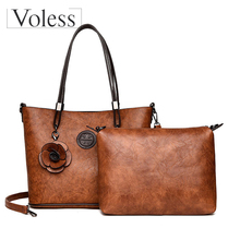 купить Two-piece Set Luxury Leather Bags Women Handbags Large Capacity Vintage Ladies Hand Bags Top-Handle Bag Solid Tote Sac Shoulder недорого