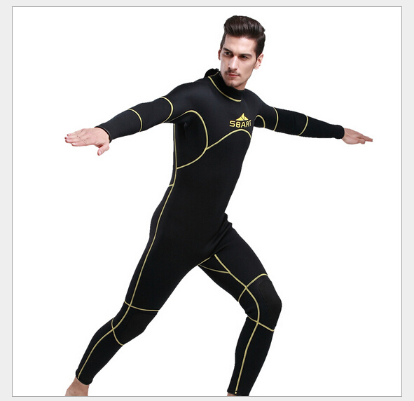 SBART 3mm Neoprene Men Scuba Diving Suit Fleece Lining Warm Wetsuit Snorkeling Kite Surfing Spearfishing Swimwear Full WetSuits sbart upf50 806 xuancai