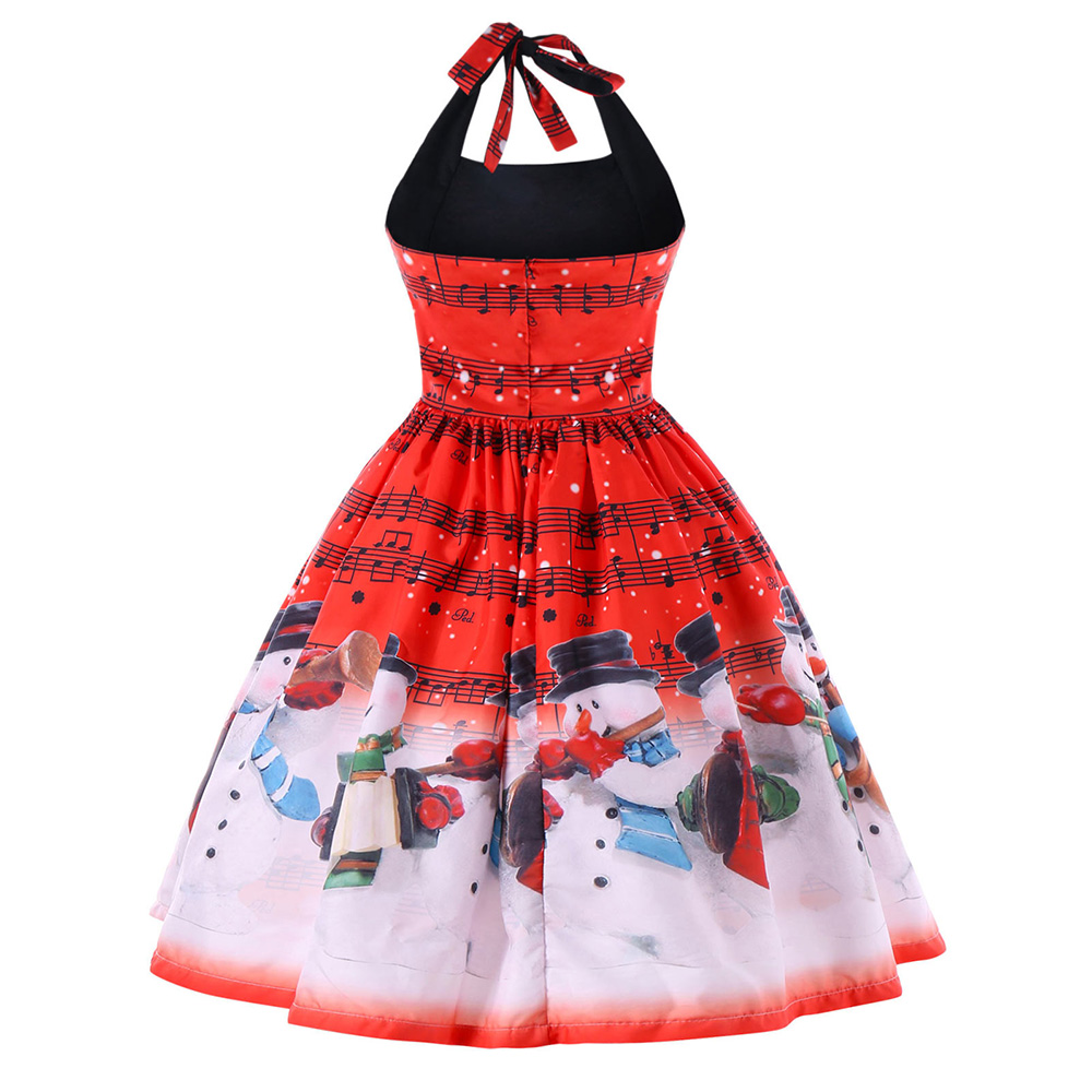 093dc85040d7b Kenancy 5XL Christmas Plus Size Music Notes Halter Dress Vintage A line Lace  Up Snowman Print Sleeveless Open Back Party Dress-in Dresses from Women's  ...