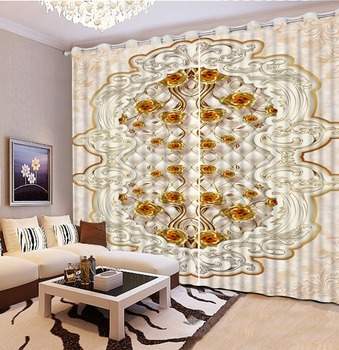 European Marble gold rose 3D Curtains Photo Large pattern Luxury Curtains For Living room Bedroom New Cortinas
