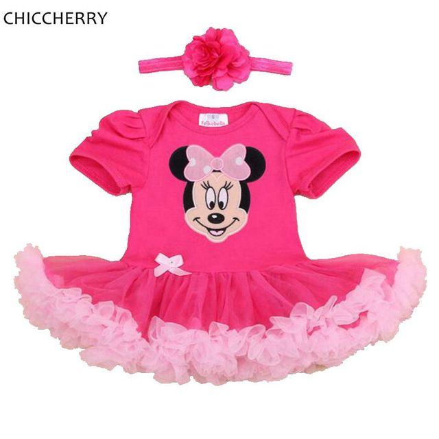 Hot Pink Minnie Applique Bebé del Tutú Del Cordón Niña Diadema Set Toddler Vestidos de Menina Vestidos Cumpleaños 1 Años Embroma el Mameluco