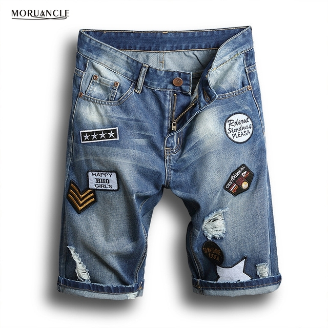 MORUANCLE New Summer Men's Ripped Jeans Shorts Male Slim Fit Distressed Denim  Shorts With Patches Washed - Aliexpress.com : Buy MORUANCLE New Summer Men's Ripped Jeans