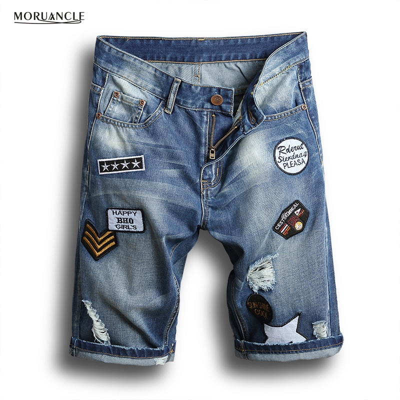 Popular Ripped Patch Jean Shorts Men-Buy Cheap Ripped Patch Jean ...